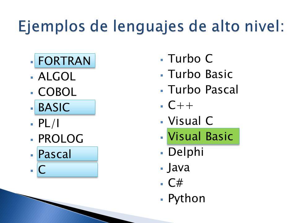 Ejemplos de lenguajes de alto nivel: