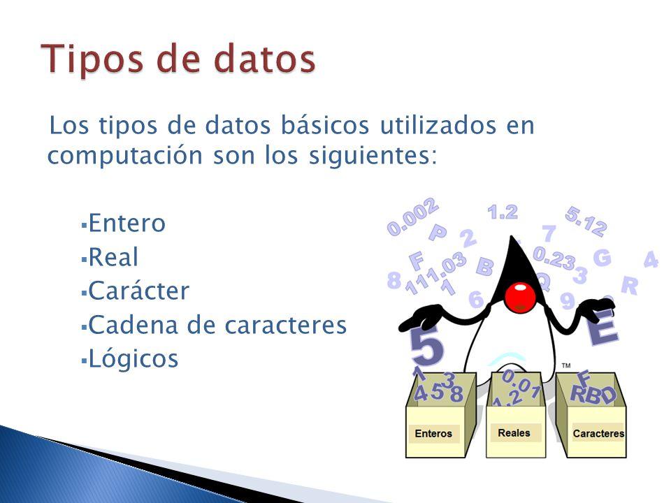 Tipos de datos Los tipos de datos básicos utilizados en computación son los siguientes: Entero. Real.