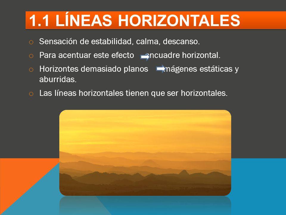 1.1 LÍNEAS HORIZONTALES Sensación de estabilidad, calma, descanso.