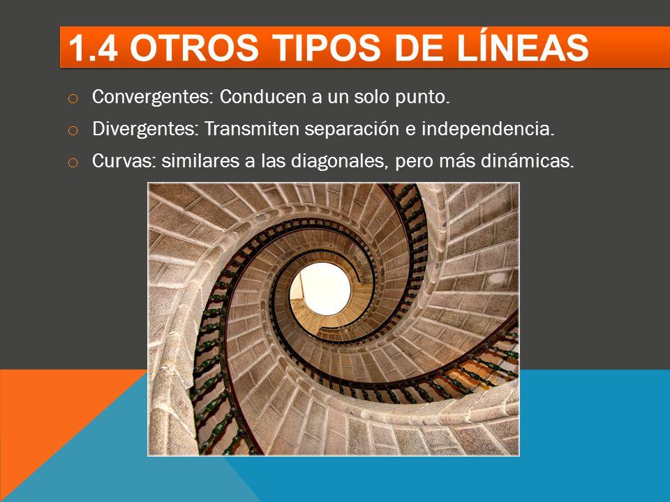 1.4 OTROS TIPOS DE LÍNEAS Convergentes: Conducen a un solo punto.