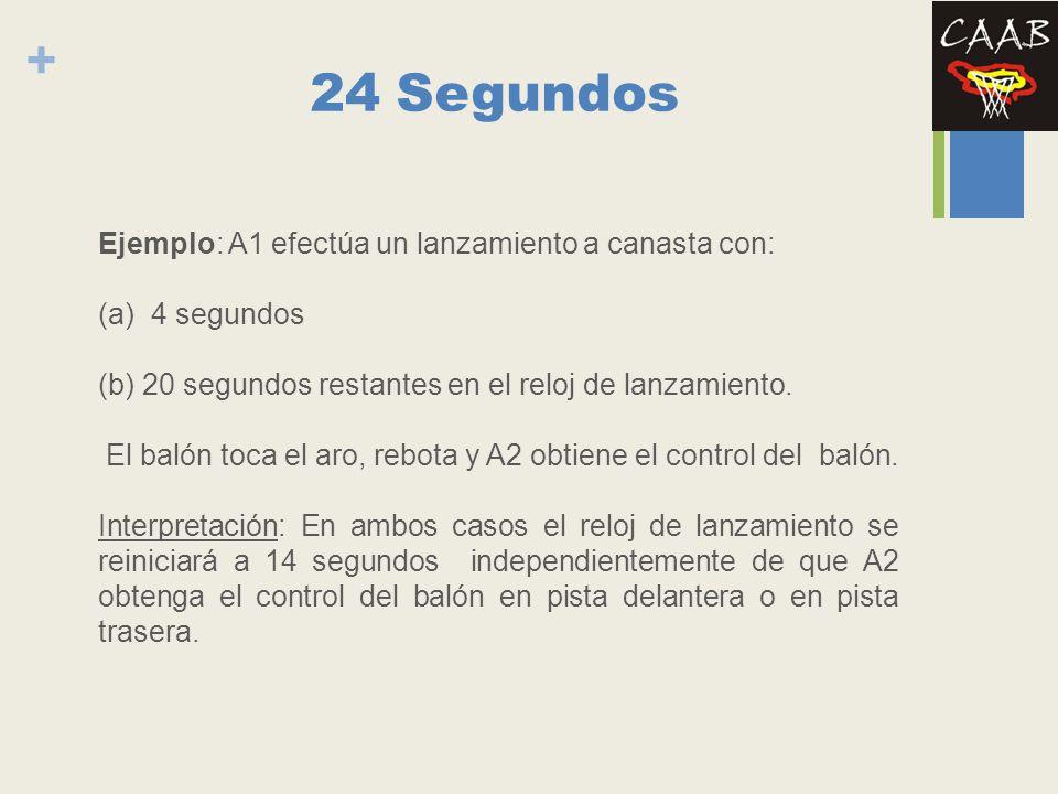 24 Segundos Ejemplo: A1 efectúa un lanzamiento a canasta con: