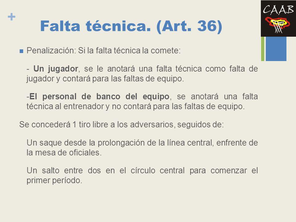 Falta técnica. (Art. 36) Penalización: Si la falta técnica la comete: