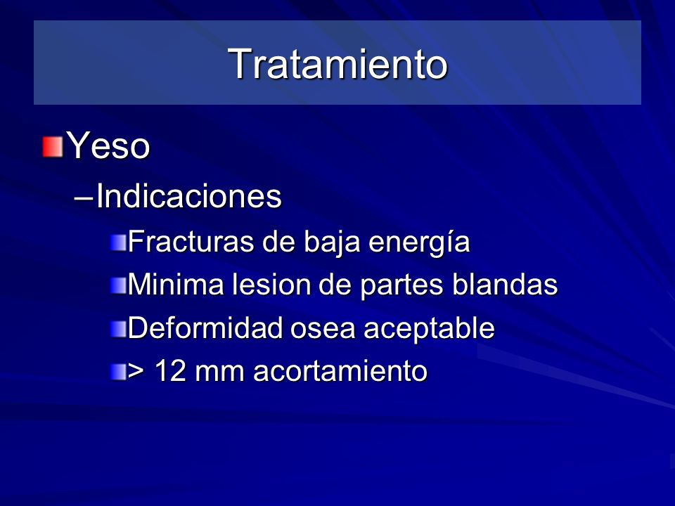 Tratamiento Yeso Indicaciones Fracturas de baja energía