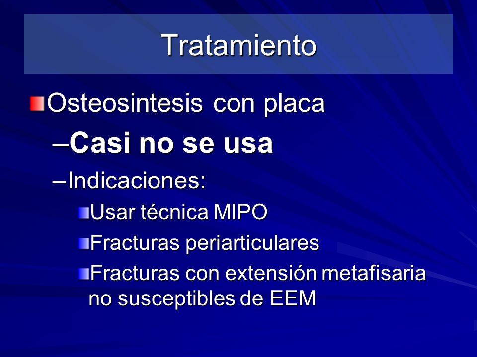 Tratamiento Casi no se usa Osteosintesis con placa Indicaciones:
