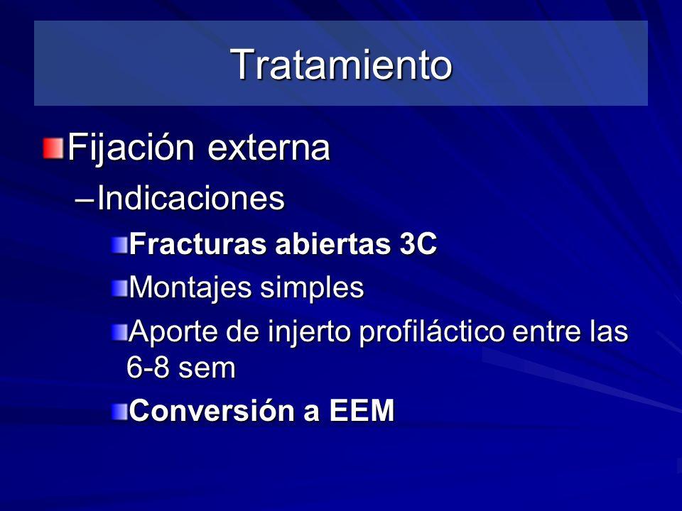 Tratamiento Fijación externa Indicaciones Fracturas abiertas 3C
