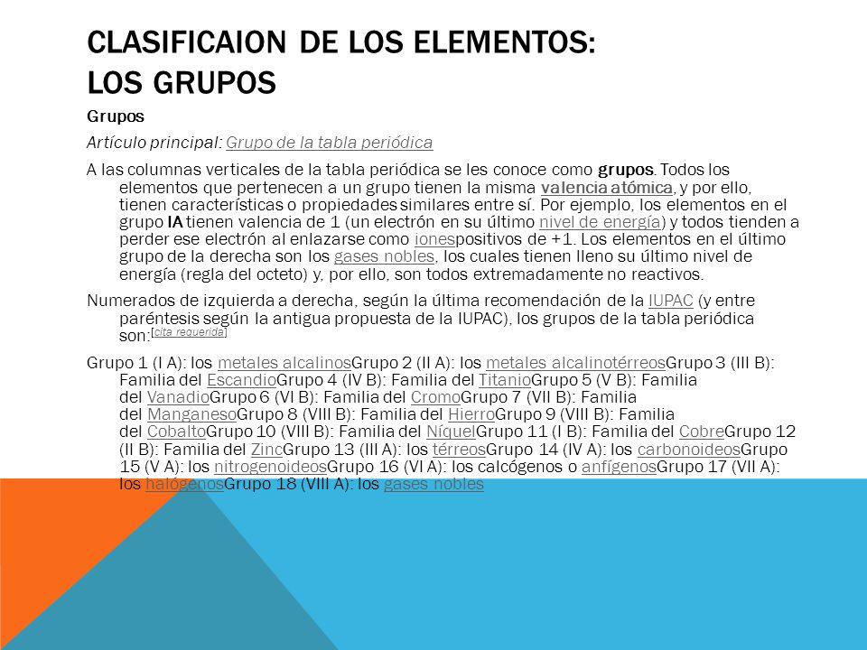 Clasificaion de los elementos: Los grupos