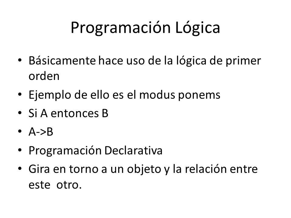 Programación Lógica Básicamente hace uso de la lógica de primer orden