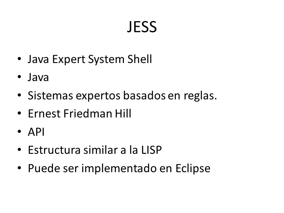 JESS Java Expert System Shell Java