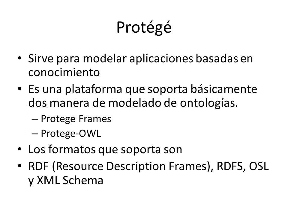 Protégé Sirve para modelar aplicaciones basadas en conocimiento