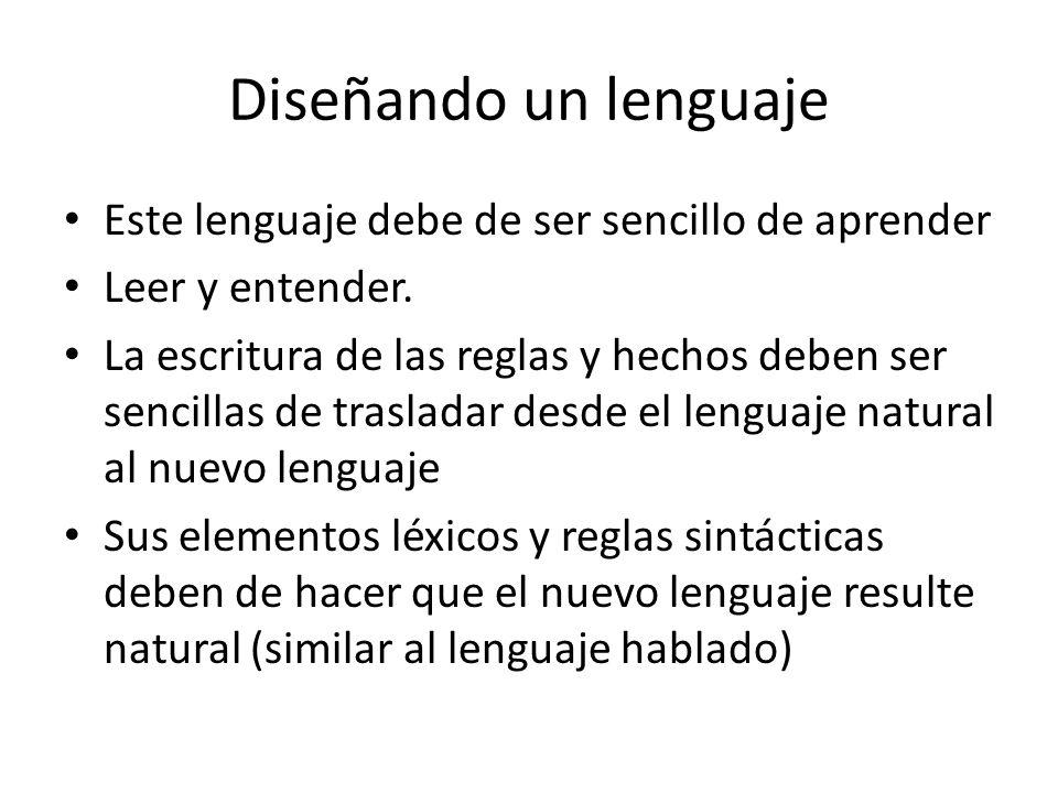 Diseñando un lenguaje Este lenguaje debe de ser sencillo de aprender
