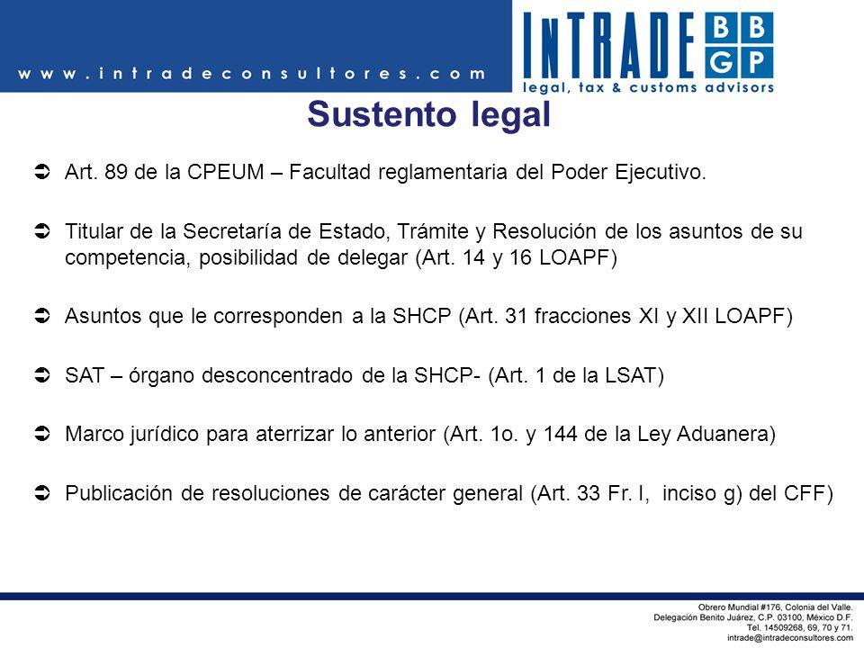 Sustento legal Art. 89 de la CPEUM – Facultad reglamentaria del Poder Ejecutivo.
