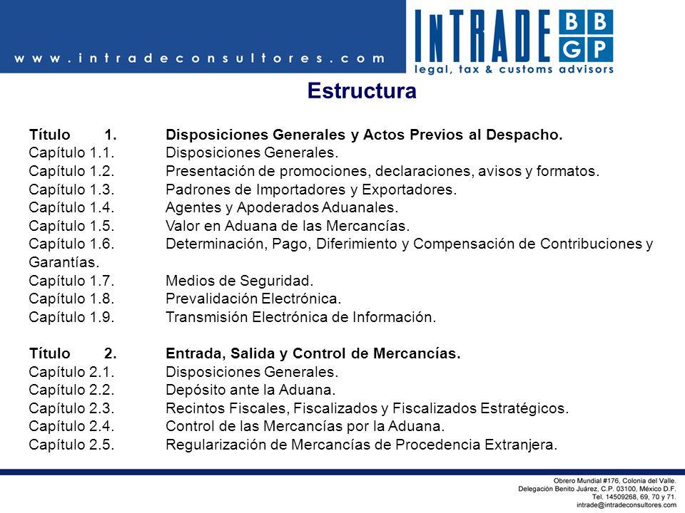Estructura Título 1. Disposiciones Generales y Actos Previos al Despacho. Capítulo 1.1. Disposiciones Generales.