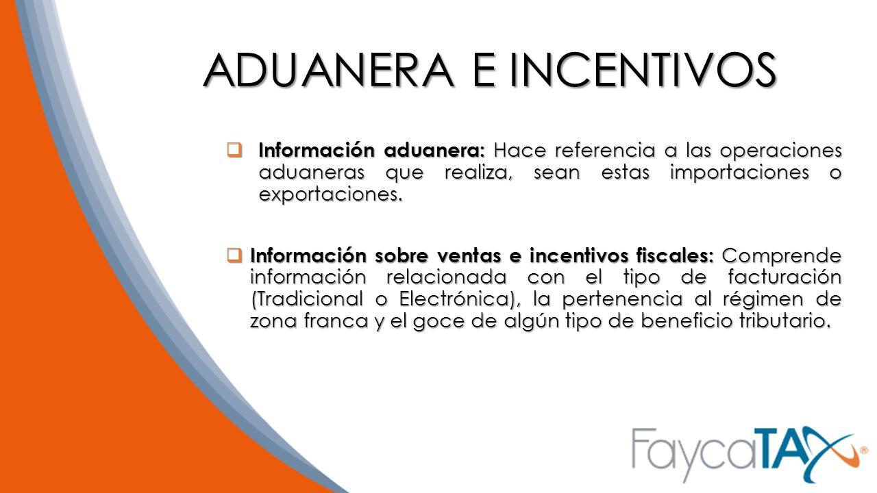 ADUANERA E INCENTIVOS Información aduanera: Hace referencia a las operaciones aduaneras que realiza, sean estas importaciones o exportaciones.