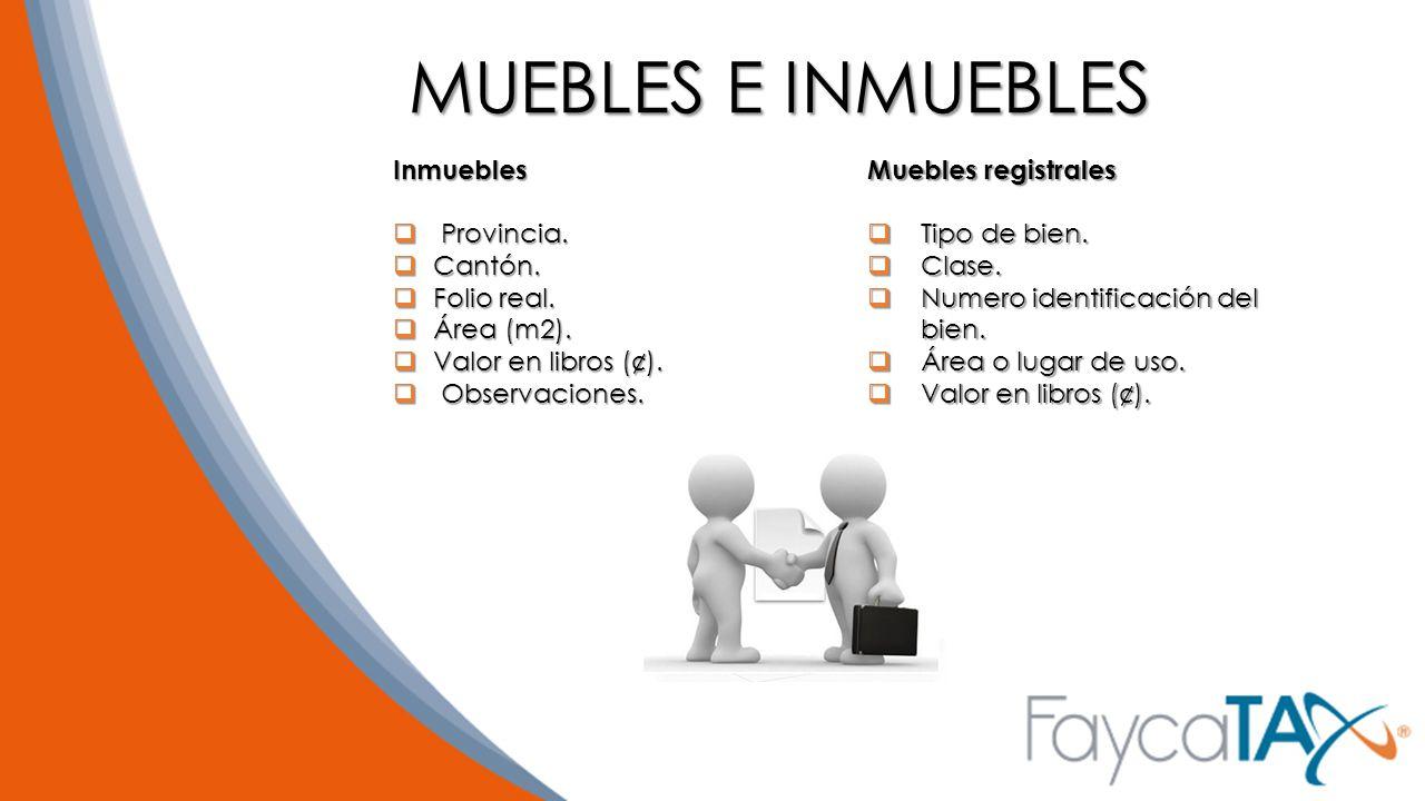 MUEBLES E INMUEBLES Inmuebles Provincia. Cantón. Folio real.