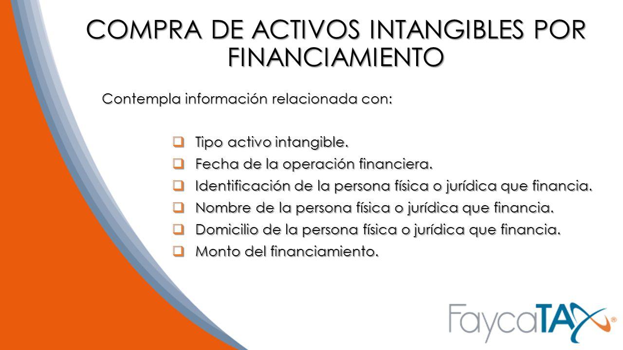 COMPRA DE ACTIVOS INTANGIBLES POR FINANCIAMIENTO