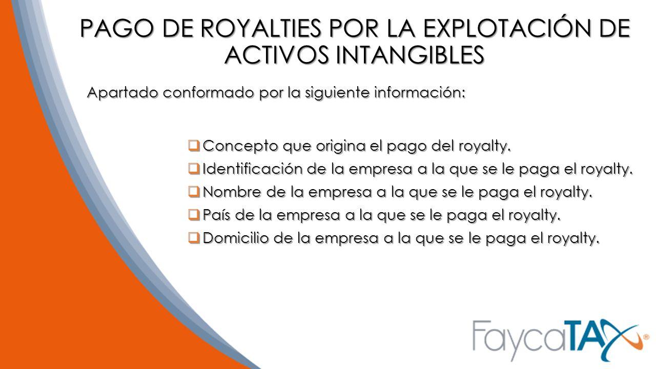 PAGO DE ROYALTIES POR LA EXPLOTACIÓN DE ACTIVOS INTANGIBLES