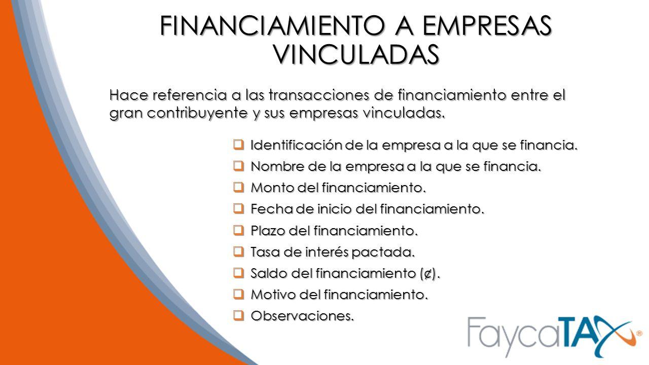FINANCIAMIENTO A EMPRESAS VINCULADAS