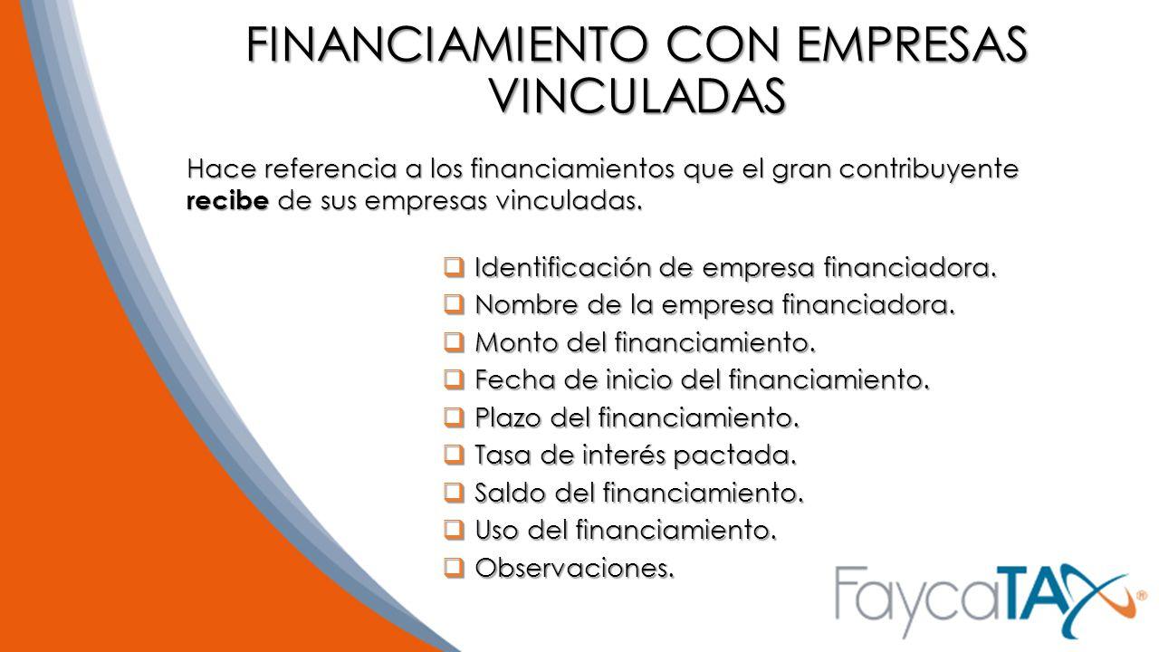 FINANCIAMIENTO CON EMPRESAS VINCULADAS
