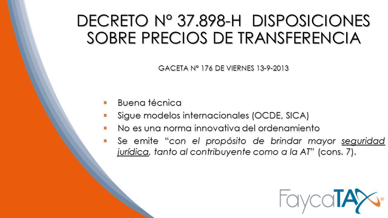 DECRETO N° 37.898-H DISPOSICIONES SOBRE PRECIOS DE TRANSFERENCIA