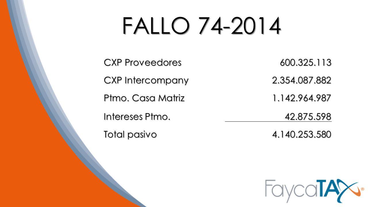 FALLO 74-2014 CXP Proveedores 600.325.113 CXP Intercompany