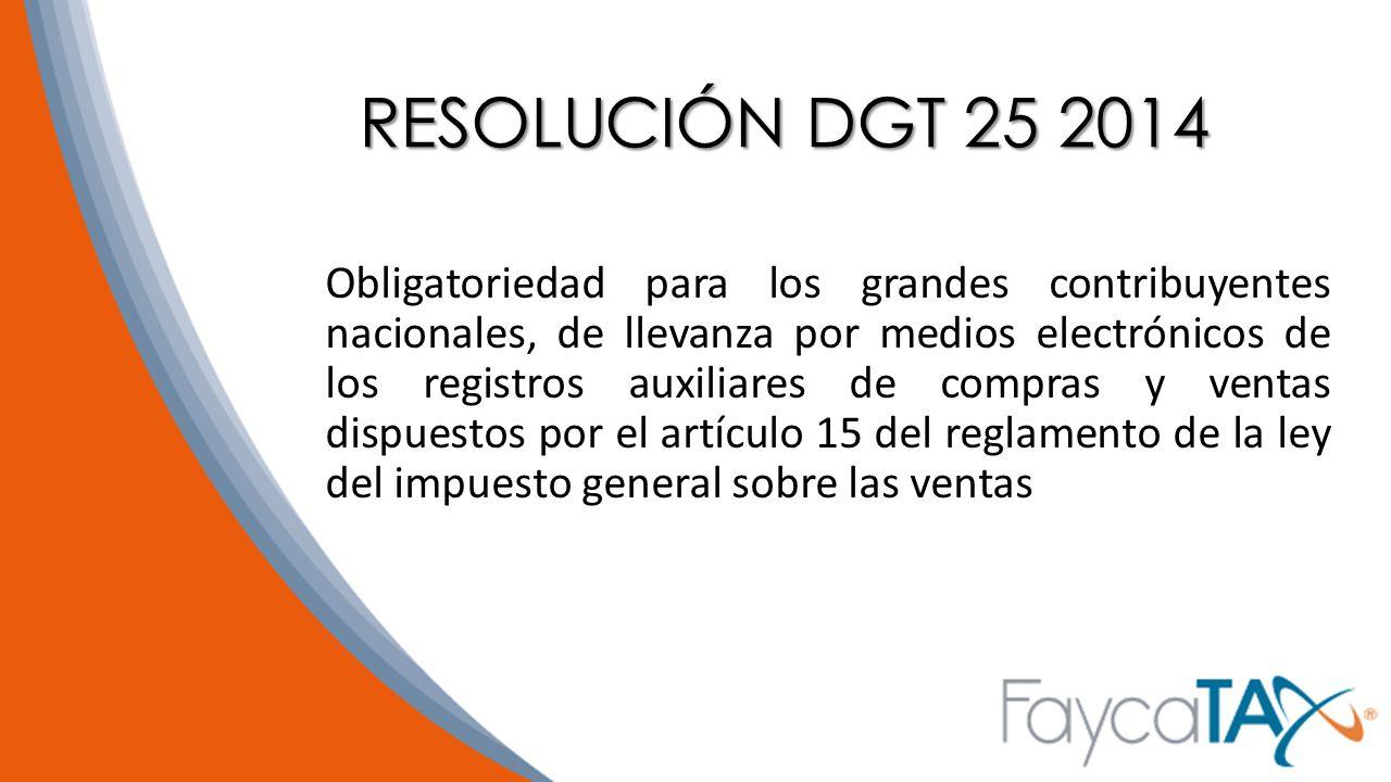 RESOLUCIÓN DGT 25 2014