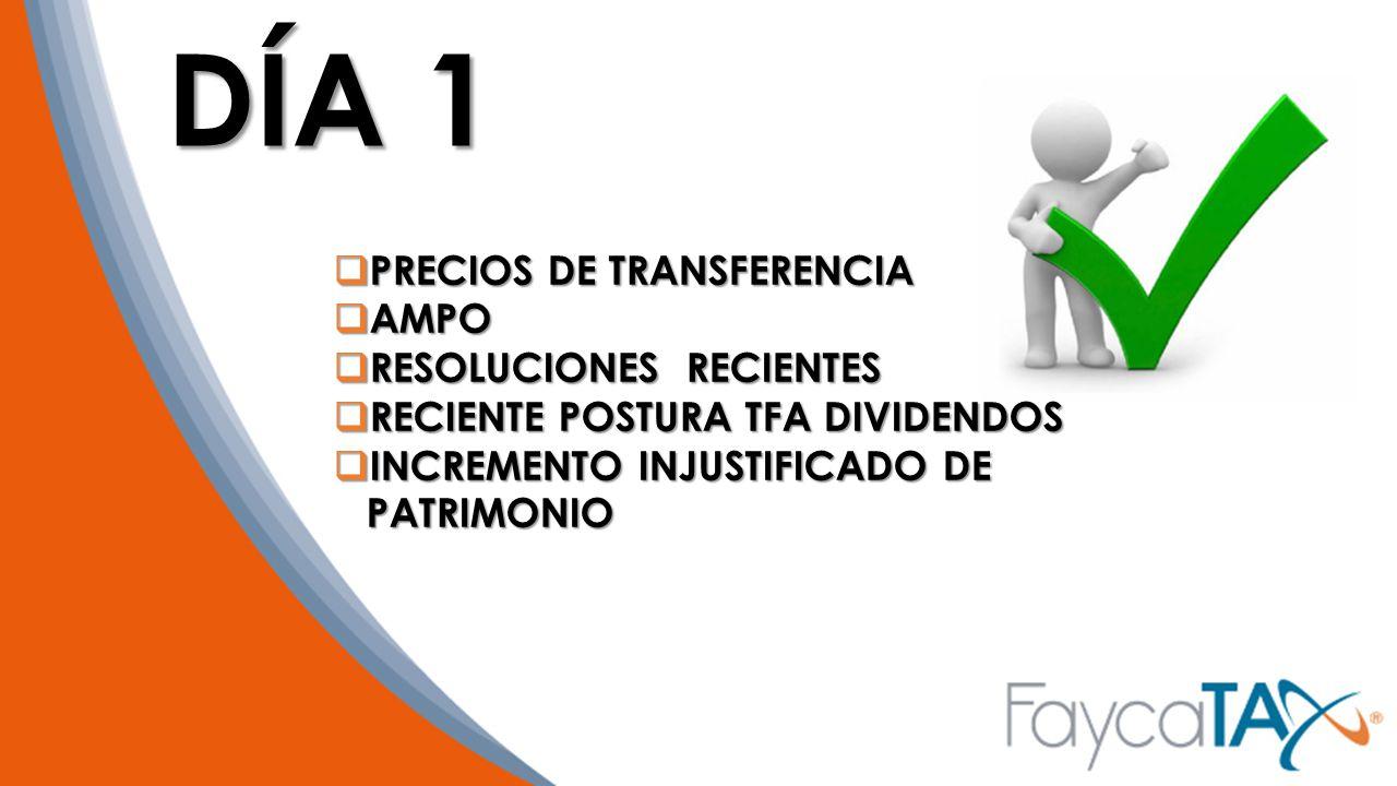 DÍA 1 PRECIOS DE TRANSFERENCIA AMPO RESOLUCIONES RECIENTES