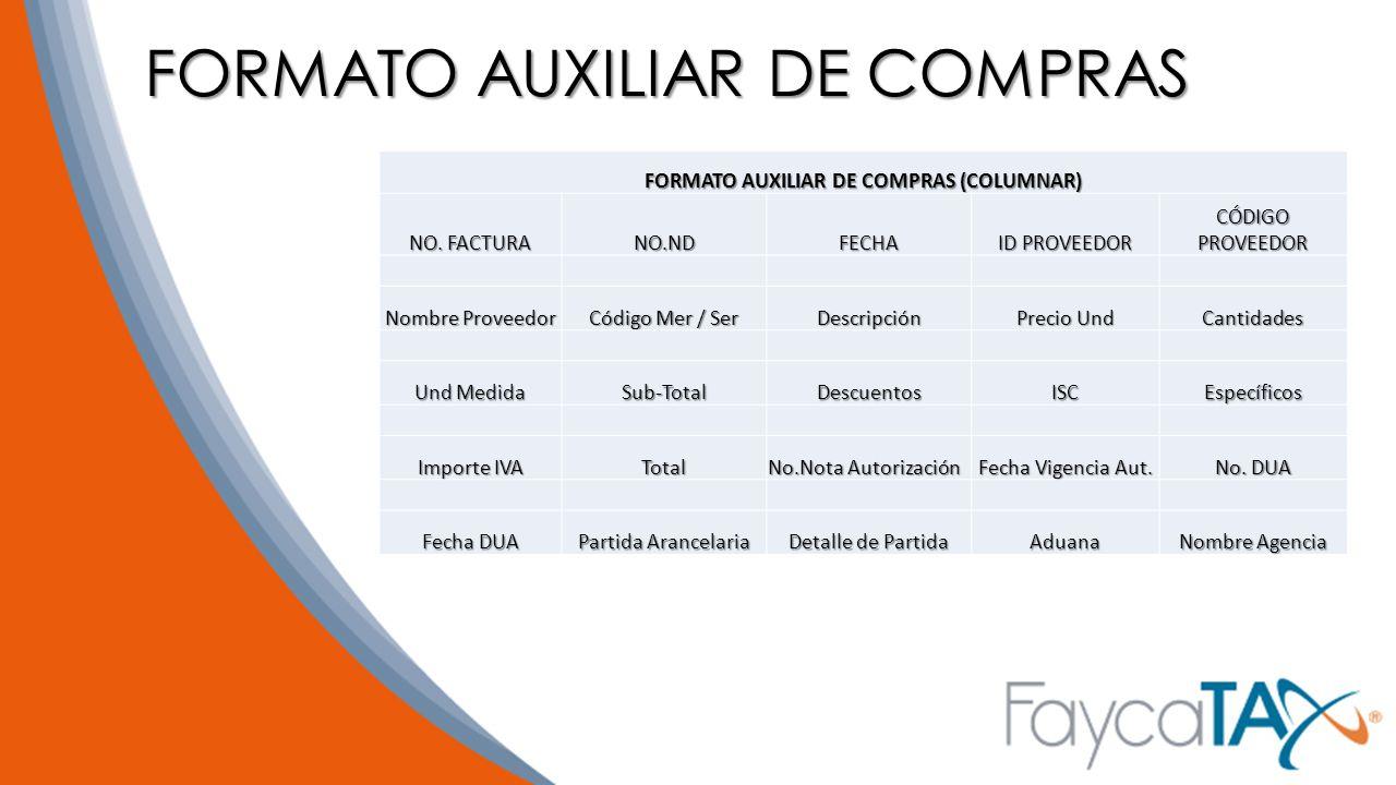 FORMATO AUXILIAR DE COMPRAS