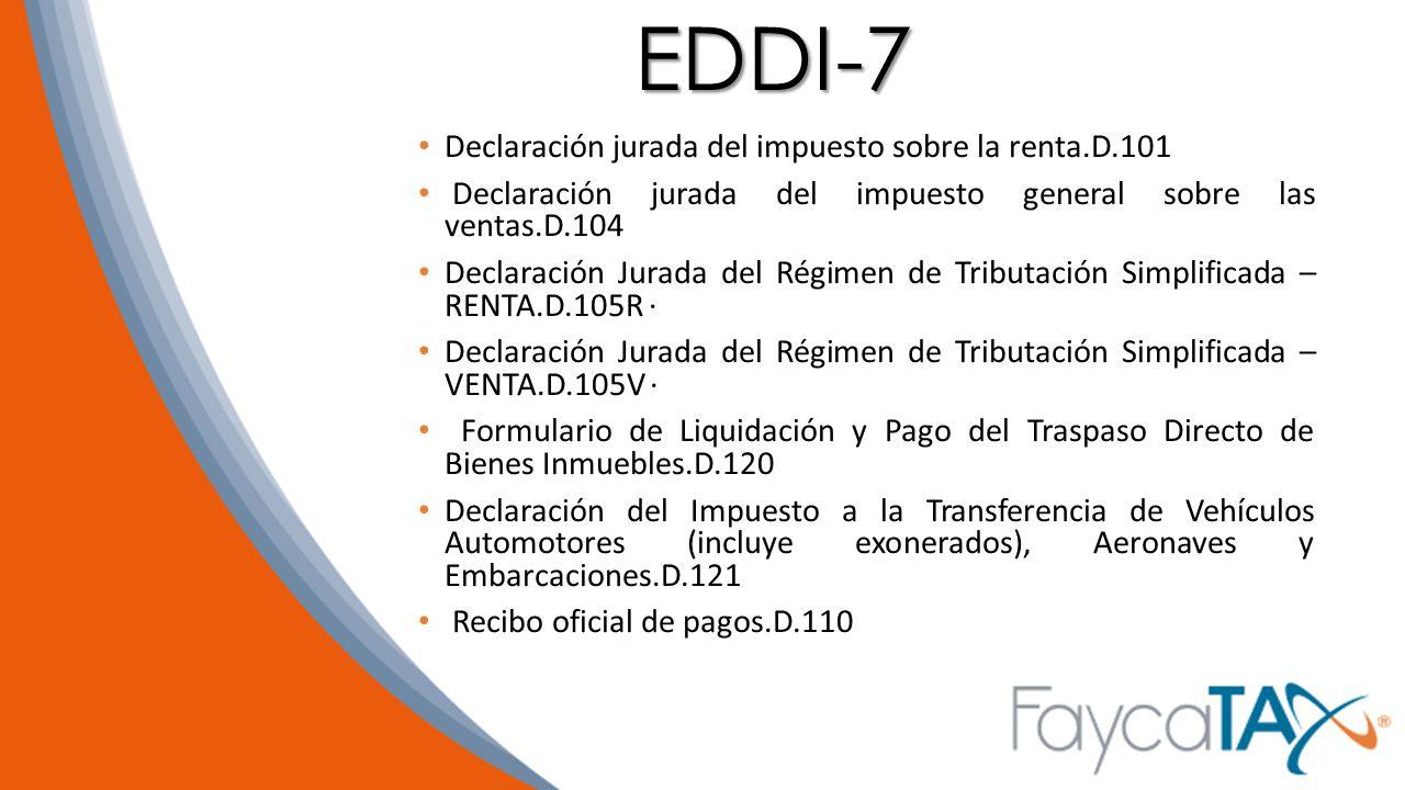 EDDI-7 Declaración jurada del impuesto sobre la renta.D.101