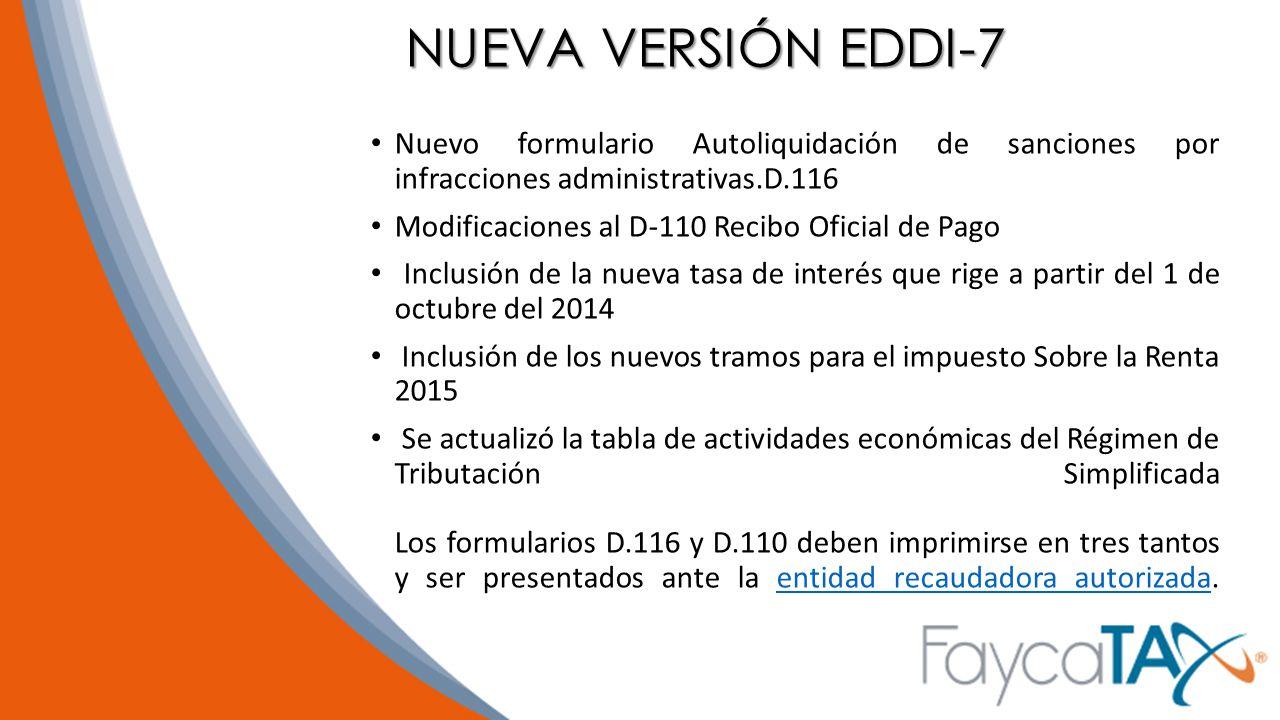NUEVA VERSIÓN EDDI-7 Nuevo formulario Autoliquidación de sanciones por infracciones administrativas.D.116