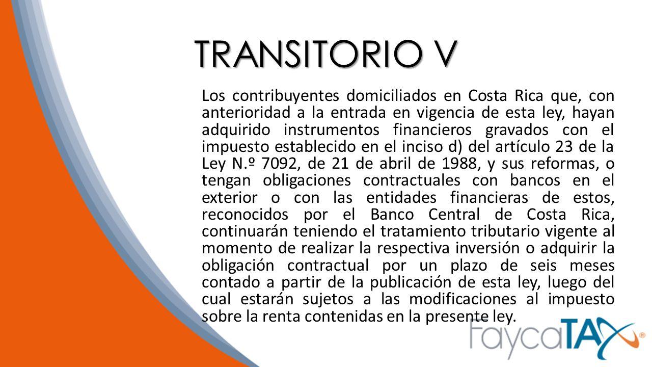 TRANSITORIO V