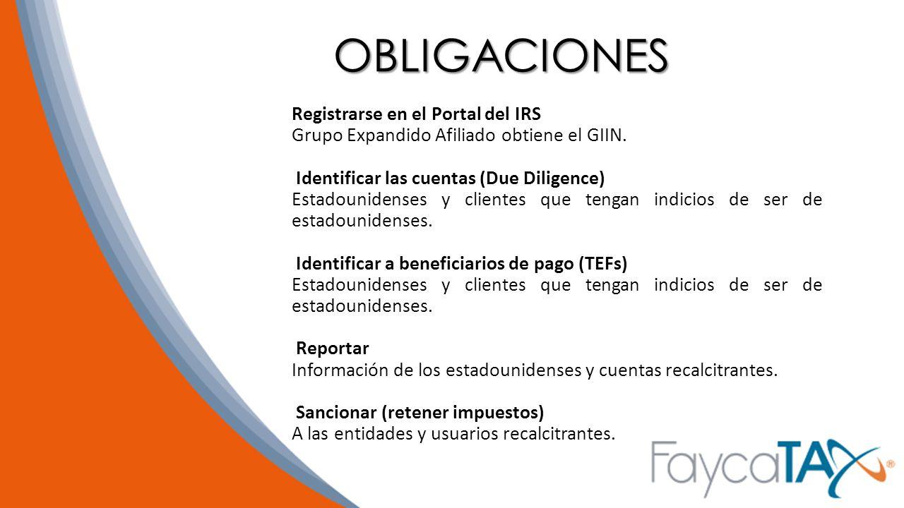OBLIGACIONES Registrarse en el Portal del IRS
