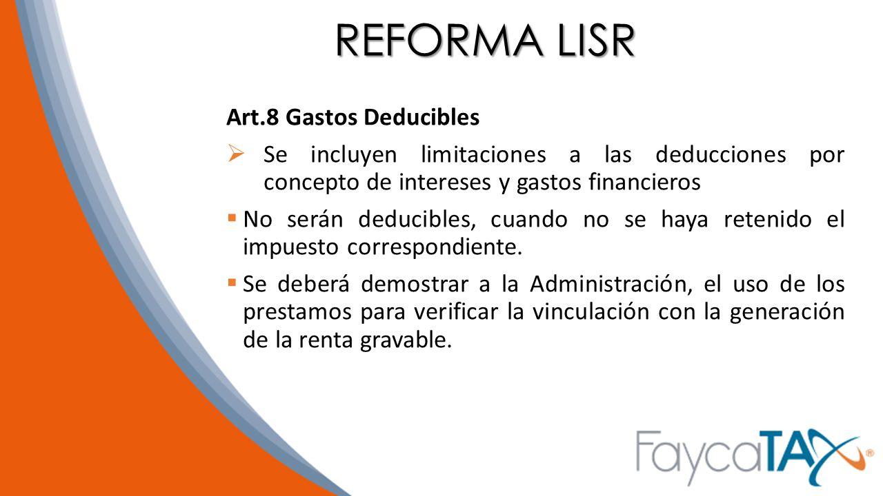 REFORMA LISR Art.8 Gastos Deducibles