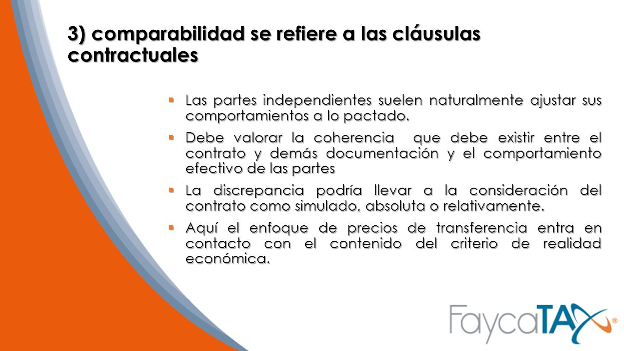 3) comparabilidad se refiere a las cláusulas contractuales