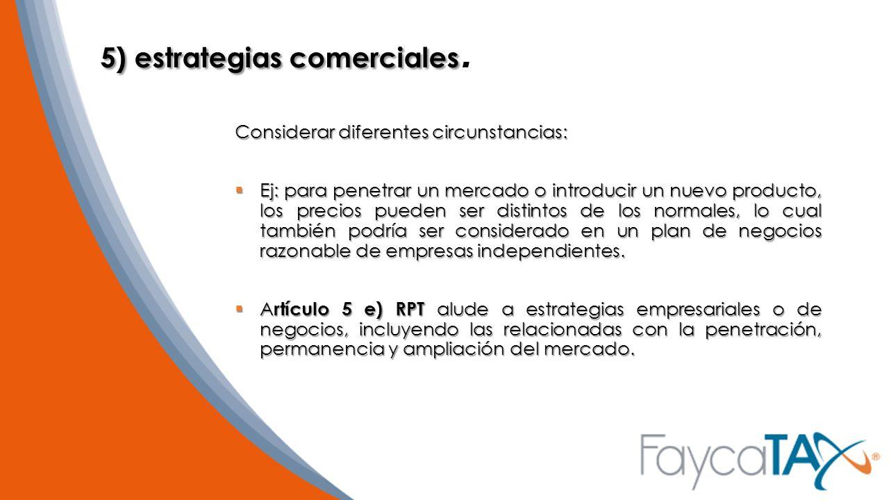 5) estrategias comerciales.