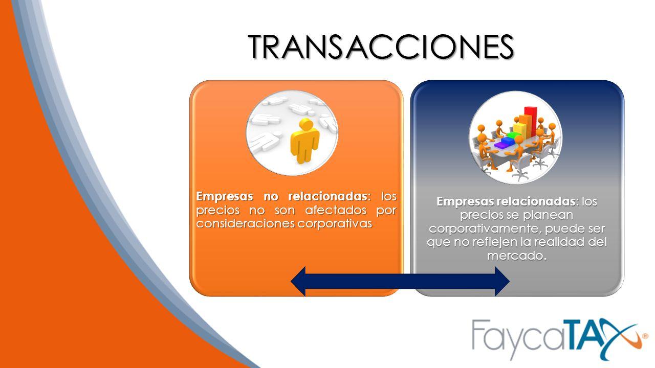 TRANSACCIONES Empresas no relacionadas: los precios no son afectados por consideraciones corporativas.