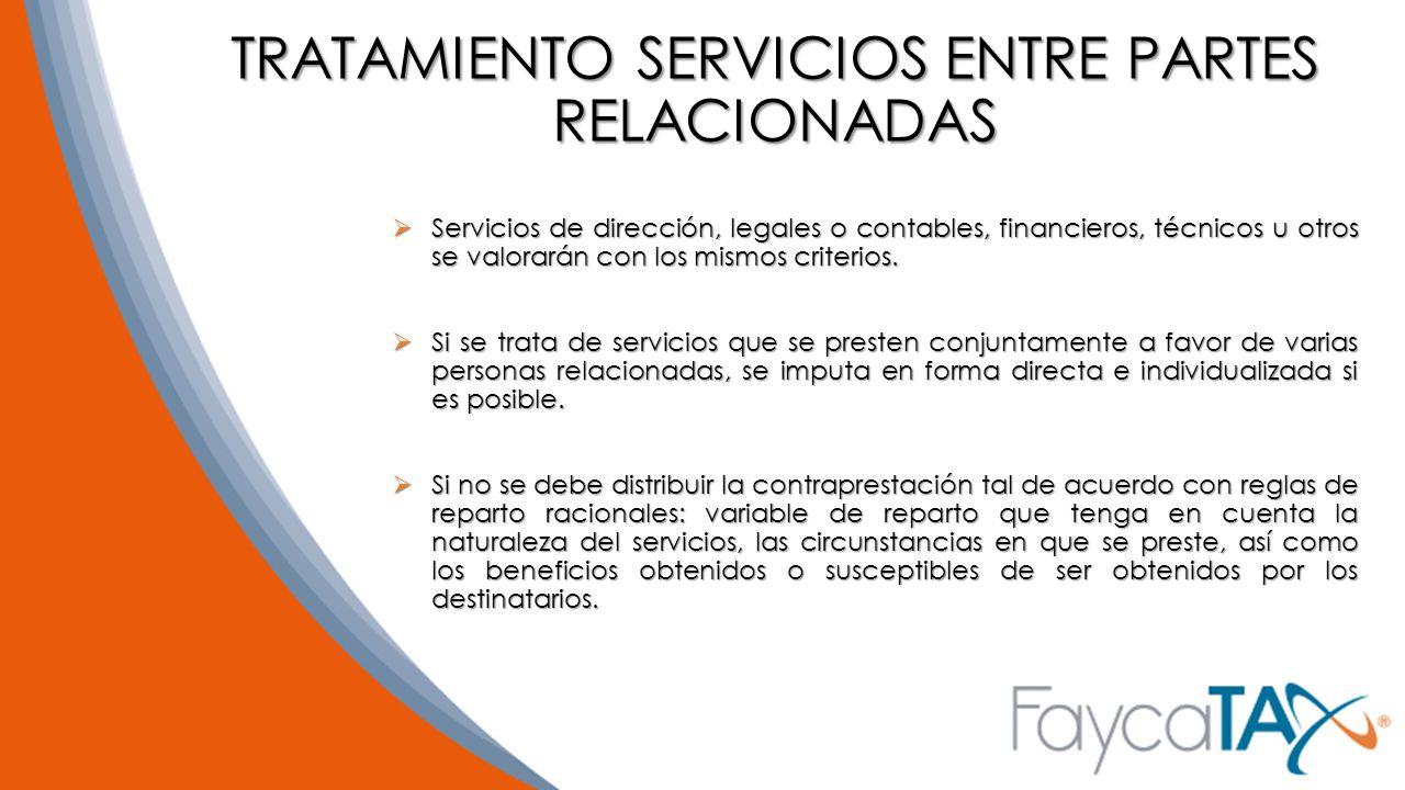 TRATAMIENTO SERVICIOS ENTRE PARTES RELACIONADAS