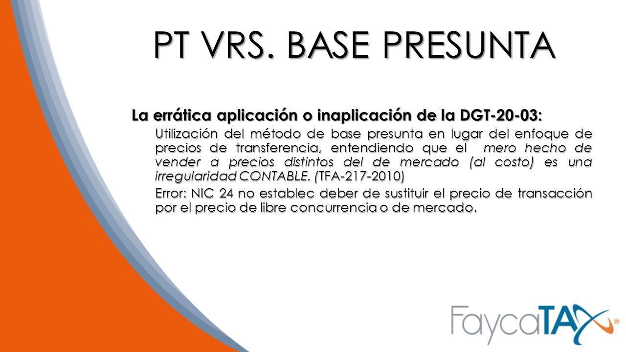 PT VRS. BASE PRESUNTA La errática aplicación o inaplicación de la DGT-20-03: