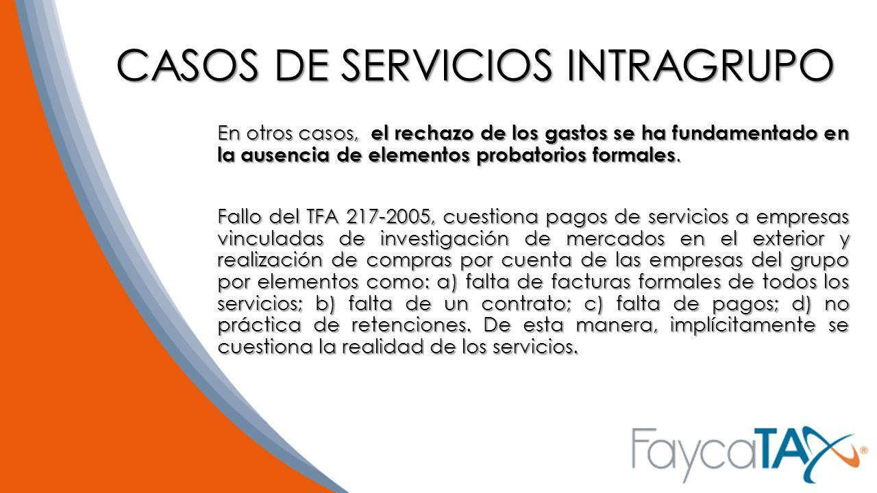 CASOS DE SERVICIOS INTRAGRUPO