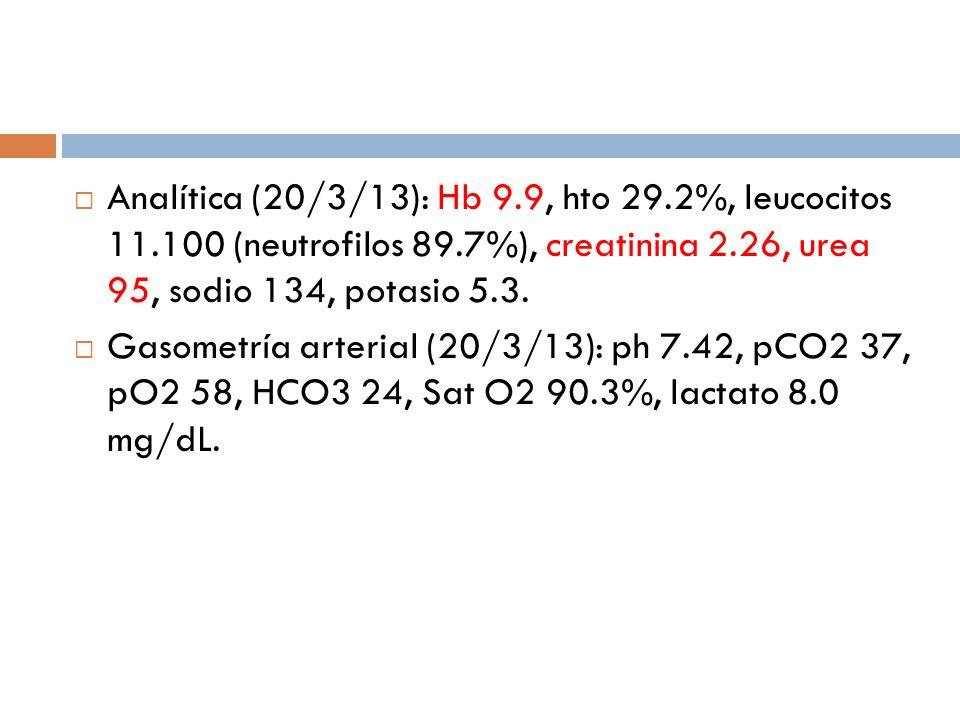 Analítica (20/3/13): Hb 9. 9, hto 29. 2%, leucocitos 11