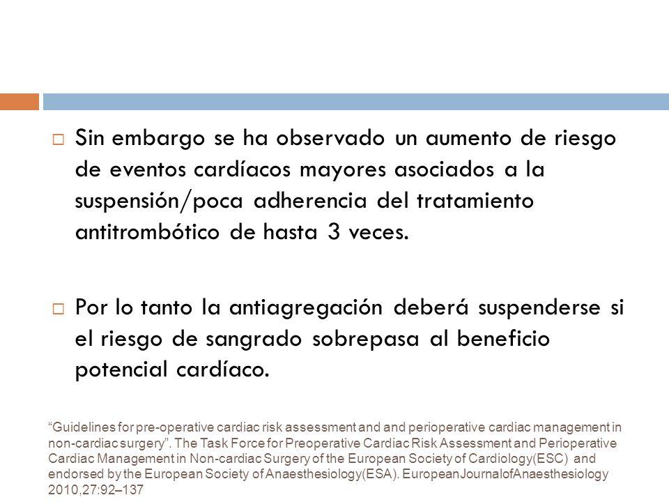 Sin embargo se ha observado un aumento de riesgo de eventos cardíacos mayores asociados a la suspensión/poca adherencia del tratamiento antitrombótico de hasta 3 veces.