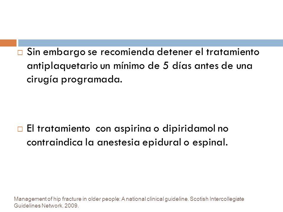 Sin embargo se recomienda detener el tratamiento antiplaquetario un mínimo de 5 días antes de una cirugía programada.