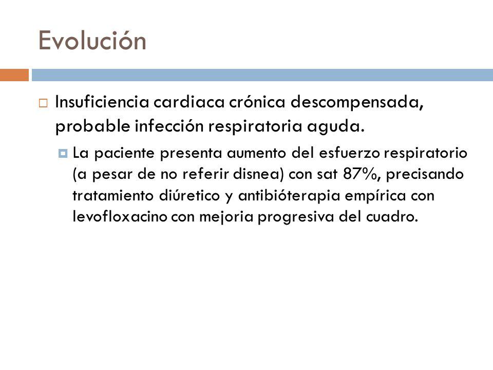 Evolución Insuficiencia cardiaca crónica descompensada, probable infección respiratoria aguda.
