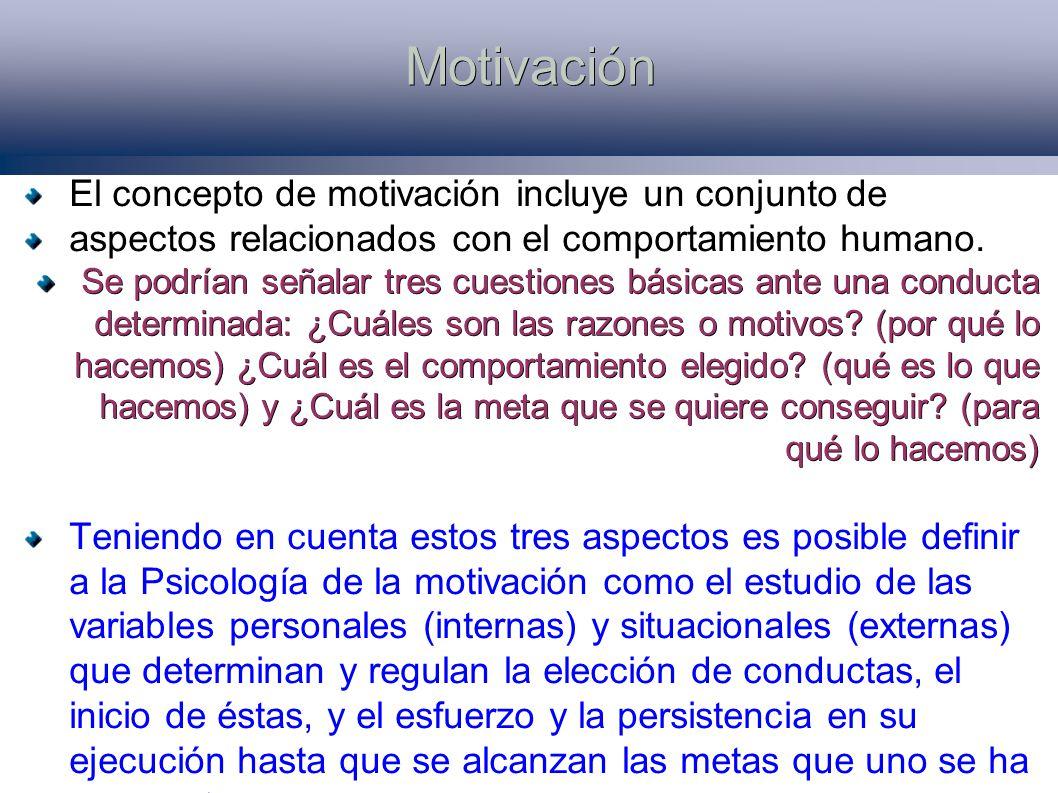 Motivación El concepto de motivación incluye un conjunto de