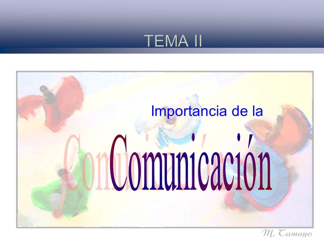 TEMA II Importancia de la Comunicación