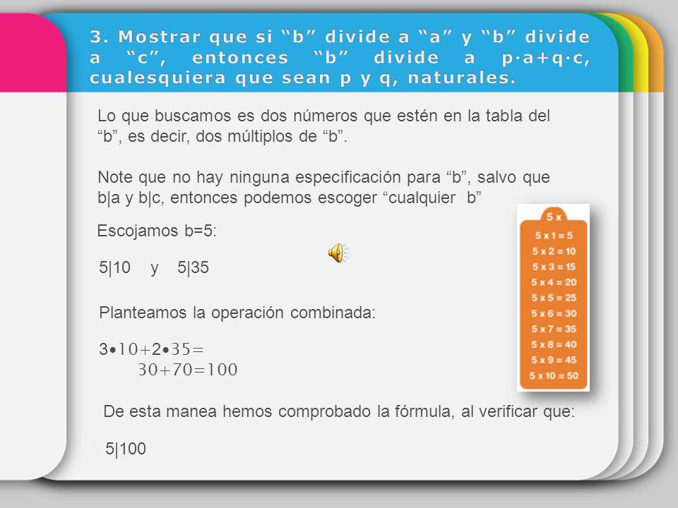3. Mostrar que si b divide a a y b divide a c , entonces b divide a p∙a+q∙c, cualesquiera que sean p y q, naturales.