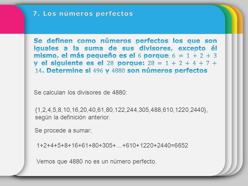 7. Los números perfectos