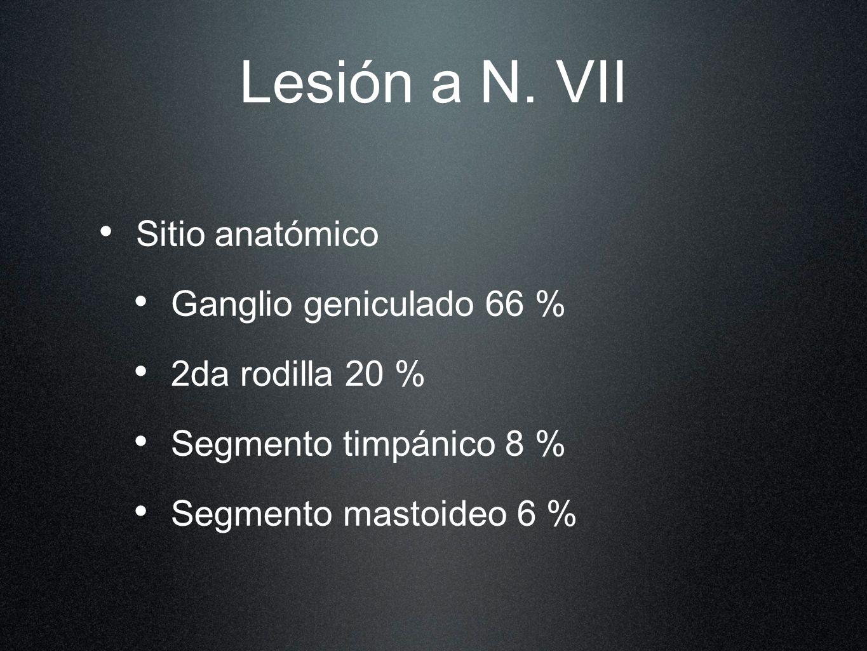 Lesión a N. VII Sitio anatómico Ganglio geniculado 66 %