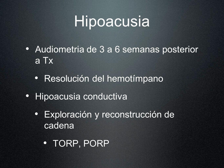 Hipoacusia Audiometria de 3 a 6 semanas posterior a Tx