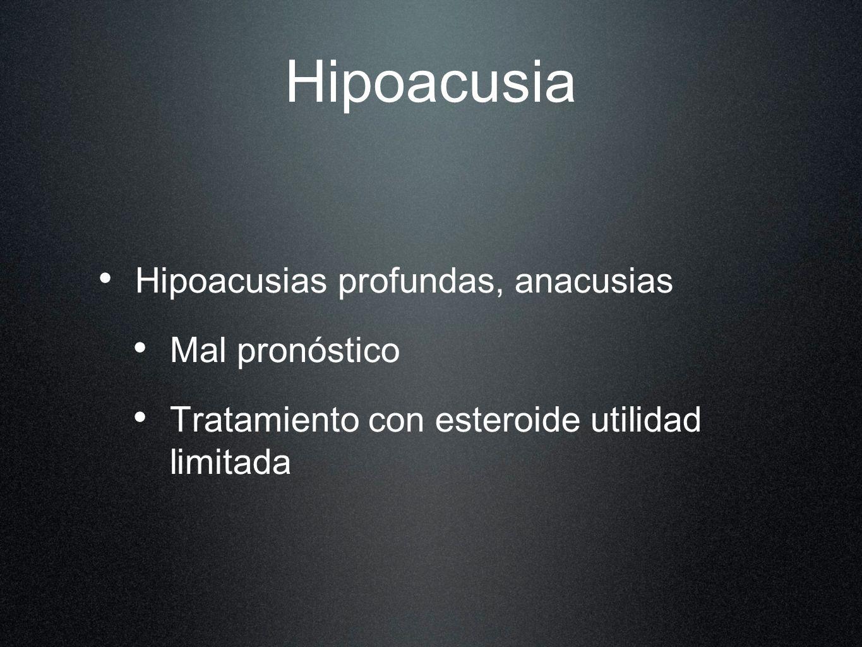 Hipoacusia Hipoacusias profundas, anacusias Mal pronóstico