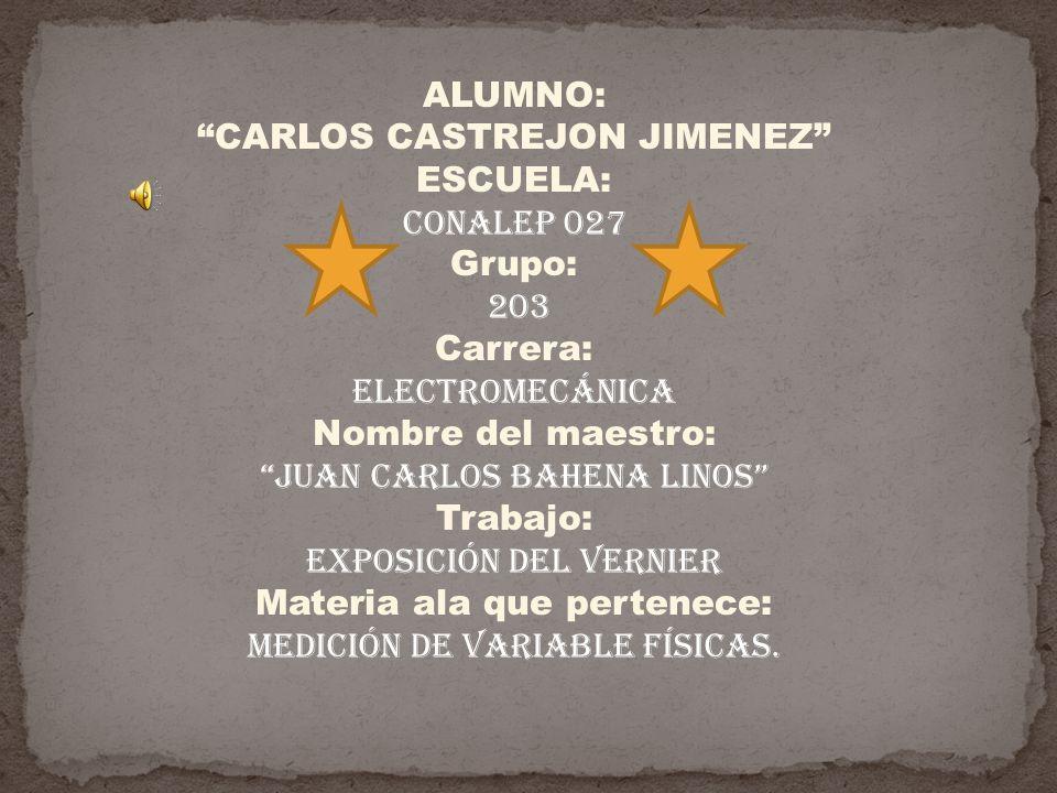CARLOS CASTREJON JIMENEZ ESCUELA: CONALEP 027 Grupo: 203 Carrera: